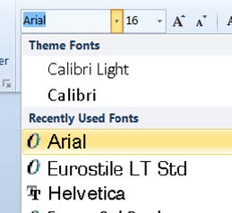 a screenshot showing how to select arial as a font