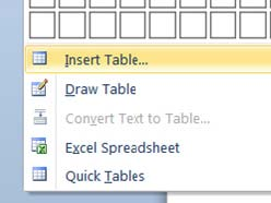 a screenshot showing how to insert a table into a word document