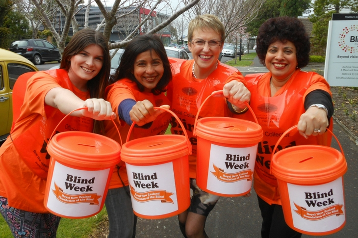 Volunteers with street collection buckets