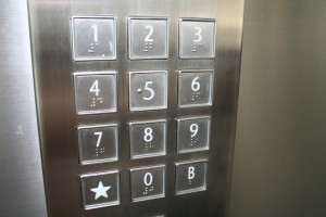 Braille buttons on a lift