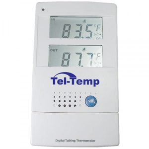 Talking infoor ourdoor thermometer with numbers on the display