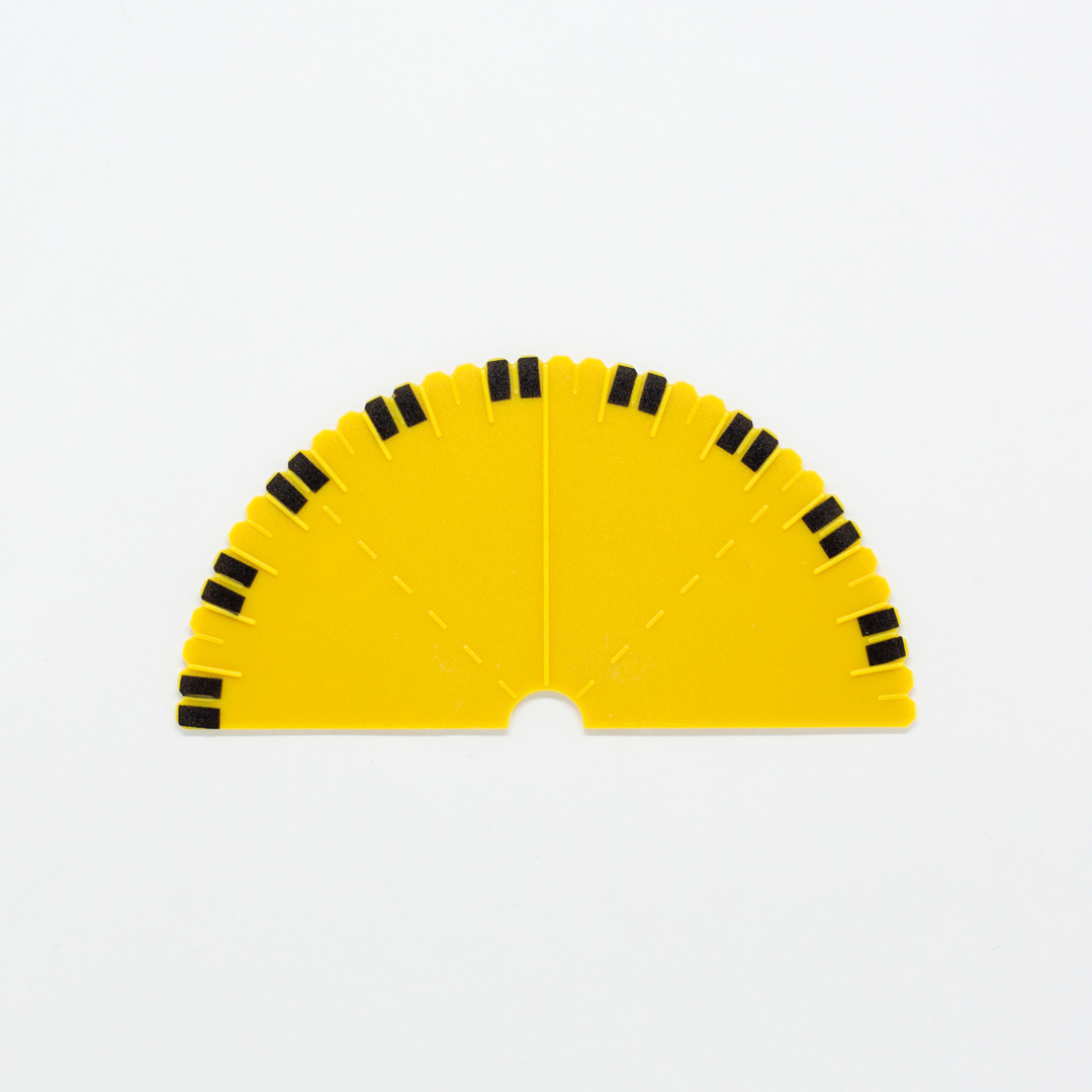 Yellow protractor with black markers