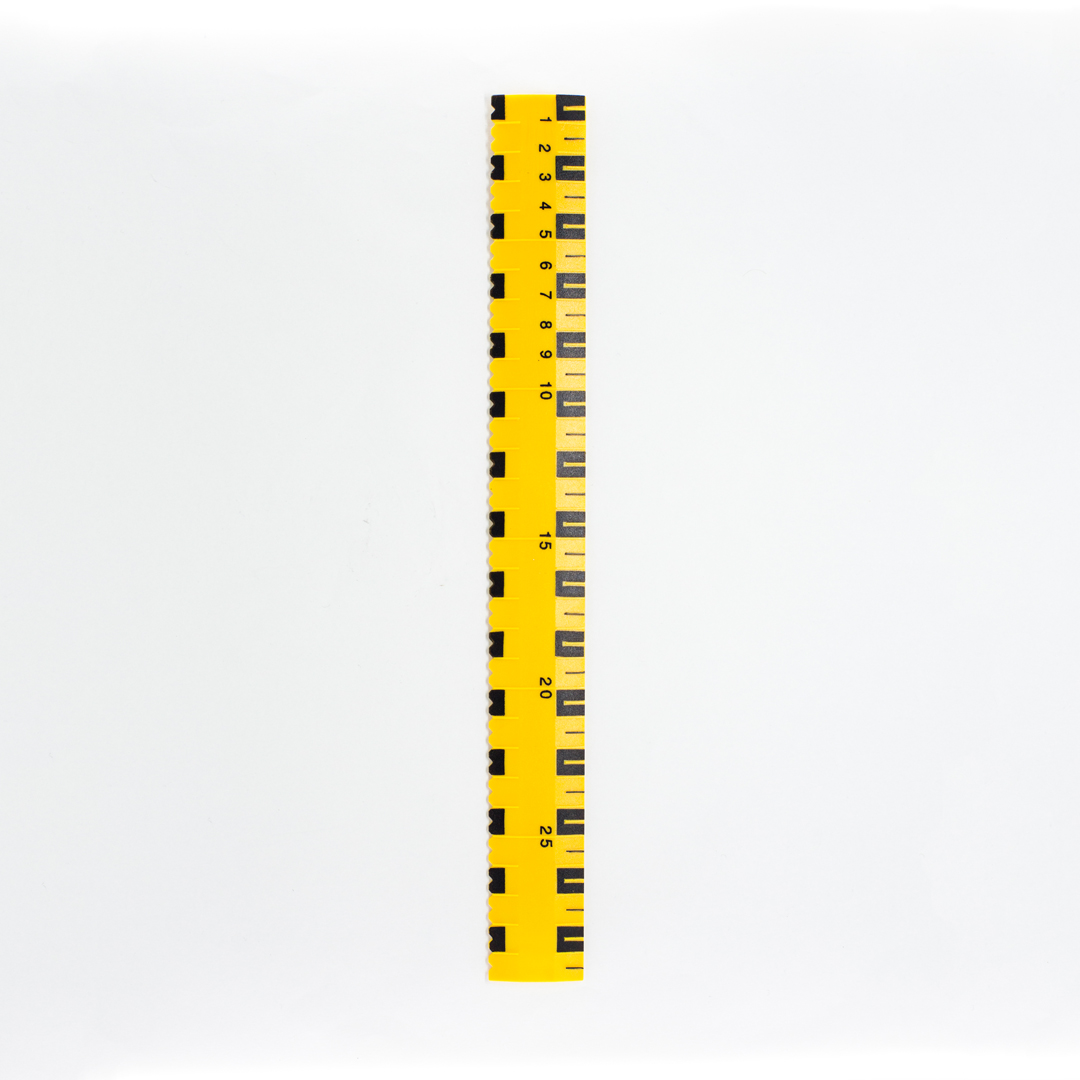 Yellow 30cm ruler with black markers
