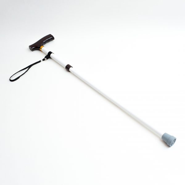 White folding support cane with rubber tip