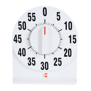White kitchen timer with clear bold black numbers.