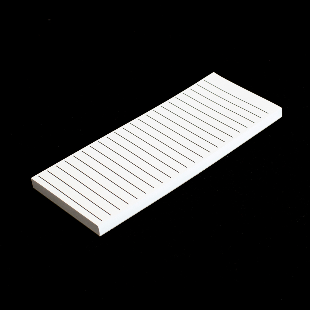 A long rectangle shopping pad with bold black lines