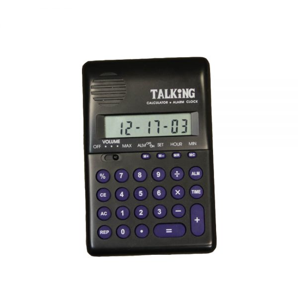 Small black calculator with blue buttons and talking function