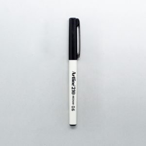 1 Artline medium tip pen, whit with black writings on and black lid