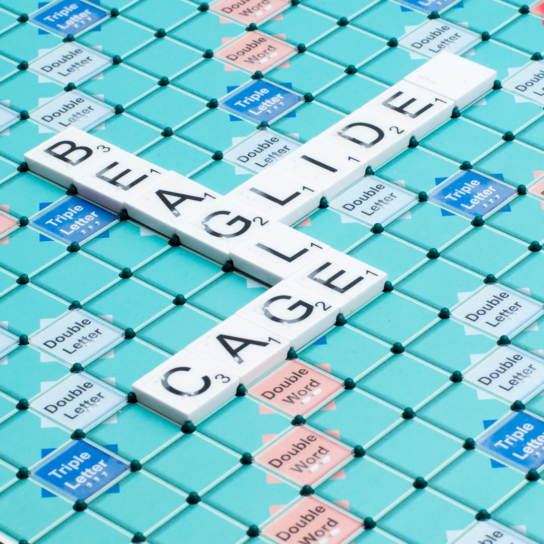 Close up of a board of scrabble