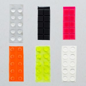 A selection of bump-on tactile labels in different colours and sizes