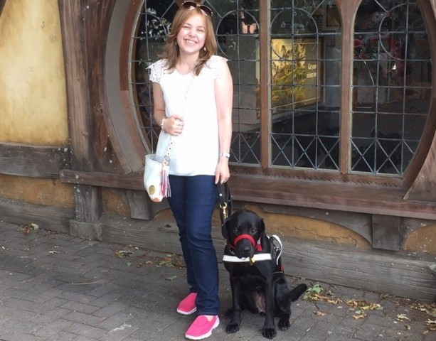 Eilish and guide dog Loie