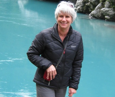 Photo of Felicity at Hokitika Gorge in the South Island.