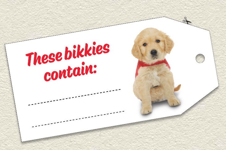 Example tag saying these bikkies contain