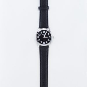 Low vision watch, black face with white numbers and a leather strap
