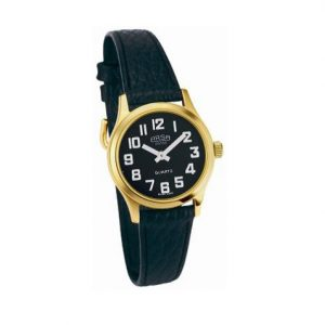 Small gold low vision watch with white numbers on a black face