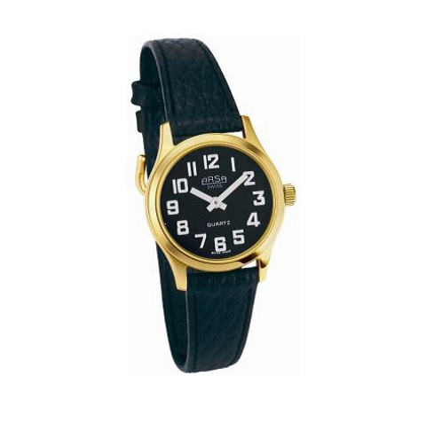Ladies Gold Low Vision Watch With Black Face Blind