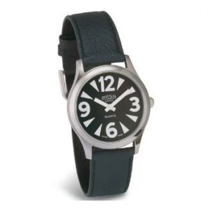 Wrist watch with leather strap and large print numbers