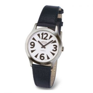 A large print wrist watch with a white face a black numbers