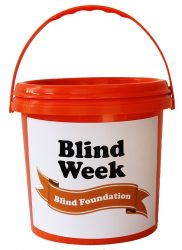 Orange Blind Week collection bucket