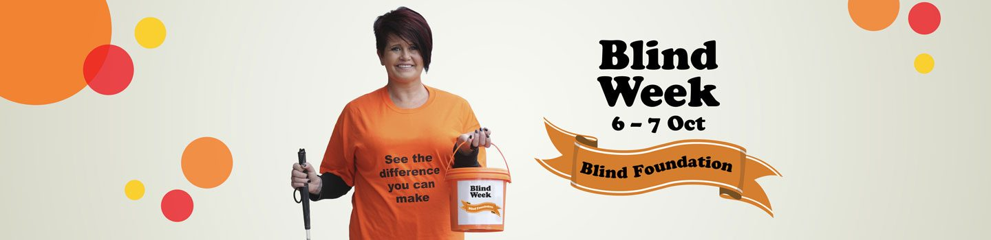 Blind Week 2017 banner with woman holding a collection bucket