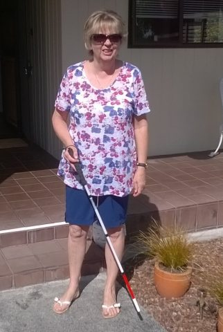 Kay Clark with her white cane