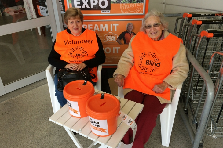 Volunteers for Blind Week outside Mitre 10