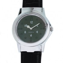 9. Large chrome tactile watch, black leather strap