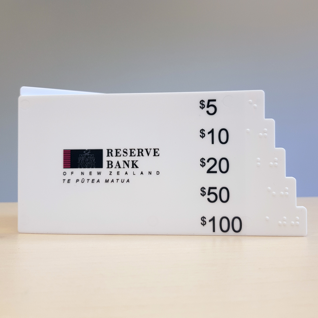 Reserve Bank of New Zealand note gauge with braille