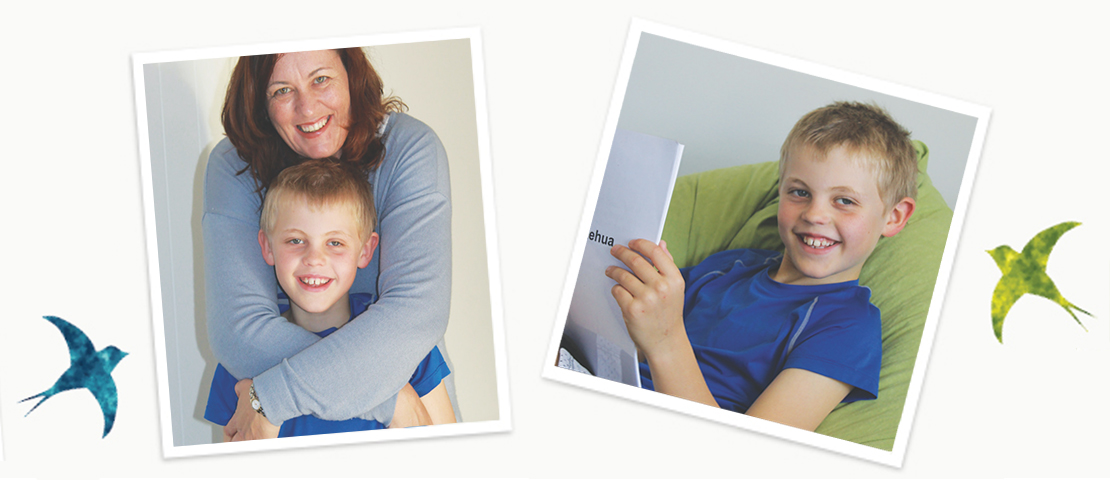 Book club banner image featuring 9 year old sam and his mum