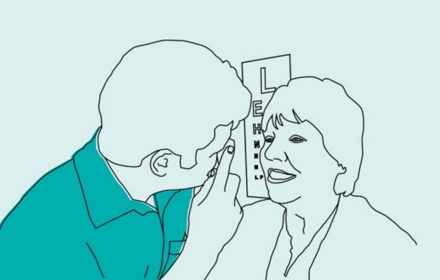 Image is a drawing of an optometrist checking a person's eyesight in front of a Snellen eye chart.