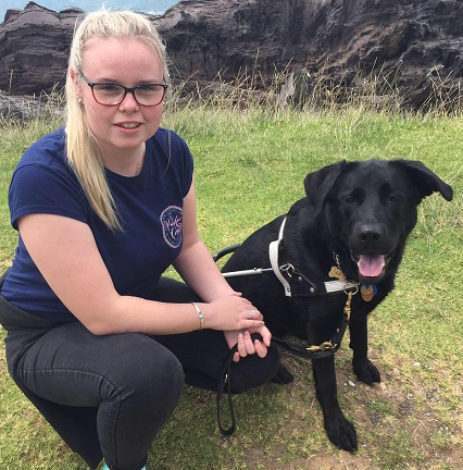 Stevi Irvine and guide dog Halo