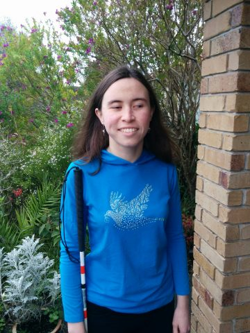 Image shows blind University of Auckland student Áine Kelly-Costello