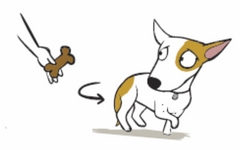 Cartoon dog walking away from food