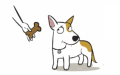 Cartoon dog refusing a bone