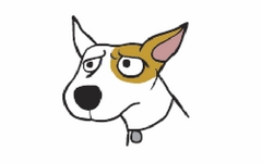 Cartoon dog with a furrowed brow