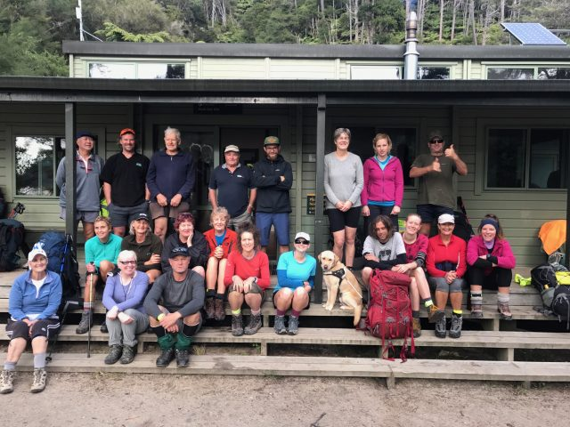 Abel Tasman tramp participants at Bark Bay Hut