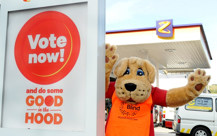 Blind Foundation guide dog mascot at a Z service station