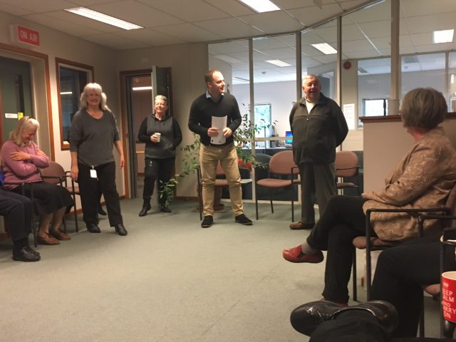 Blind Foundation staff bid farewell to Merv Smith in the Awhina House recording studios.