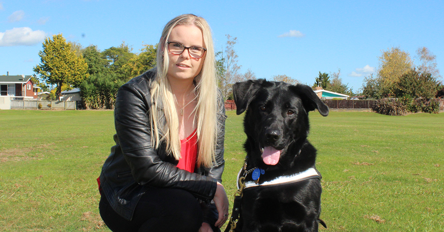 Stevi with guide dog Halo