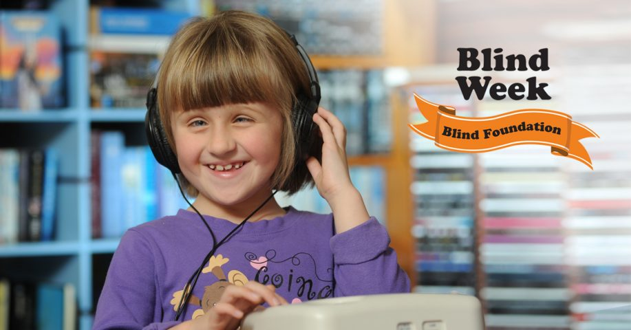 Blind Week banner featuring a young girl listening to a talking book