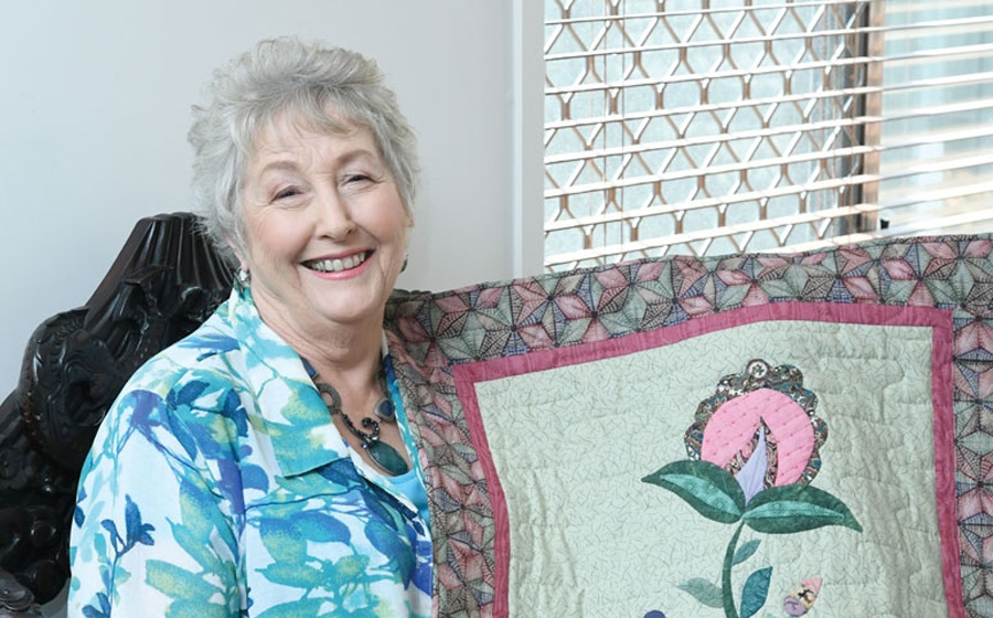 Jenny with her quilt
