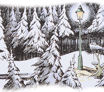 Illustrated forest scene from the Chronicles of Narnia