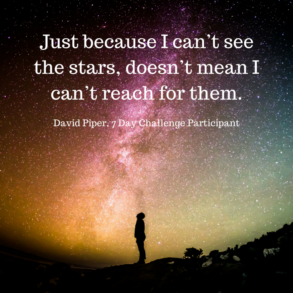 Image shows a person silhouetted against a field of stars with the quote