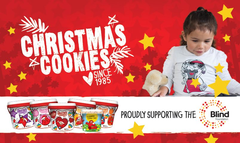 Christmas Cookie banner featuring a young girl with low vision