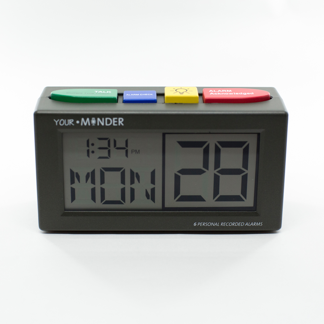 Small rectangle digital alarm clock with large coloured buttons