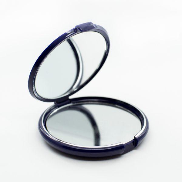 A blue compact mirror