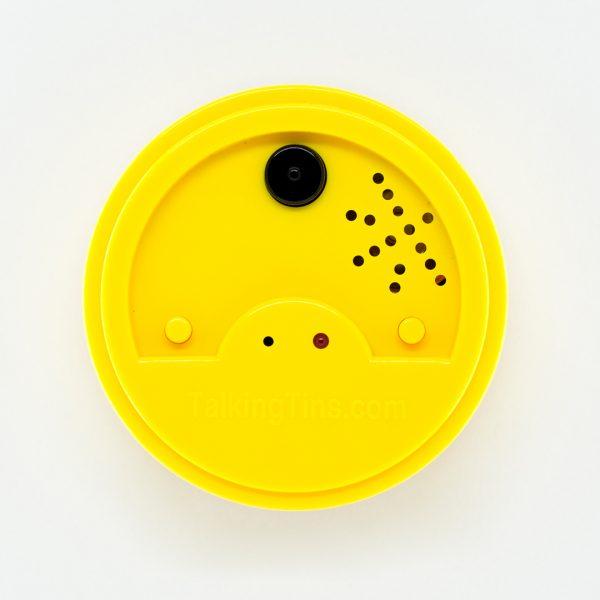 Round yellow talking tin lid