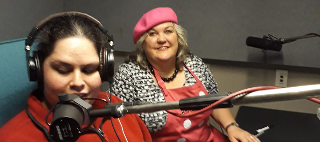 Chantelle Griffiths and Julie Woods in the recording studio.