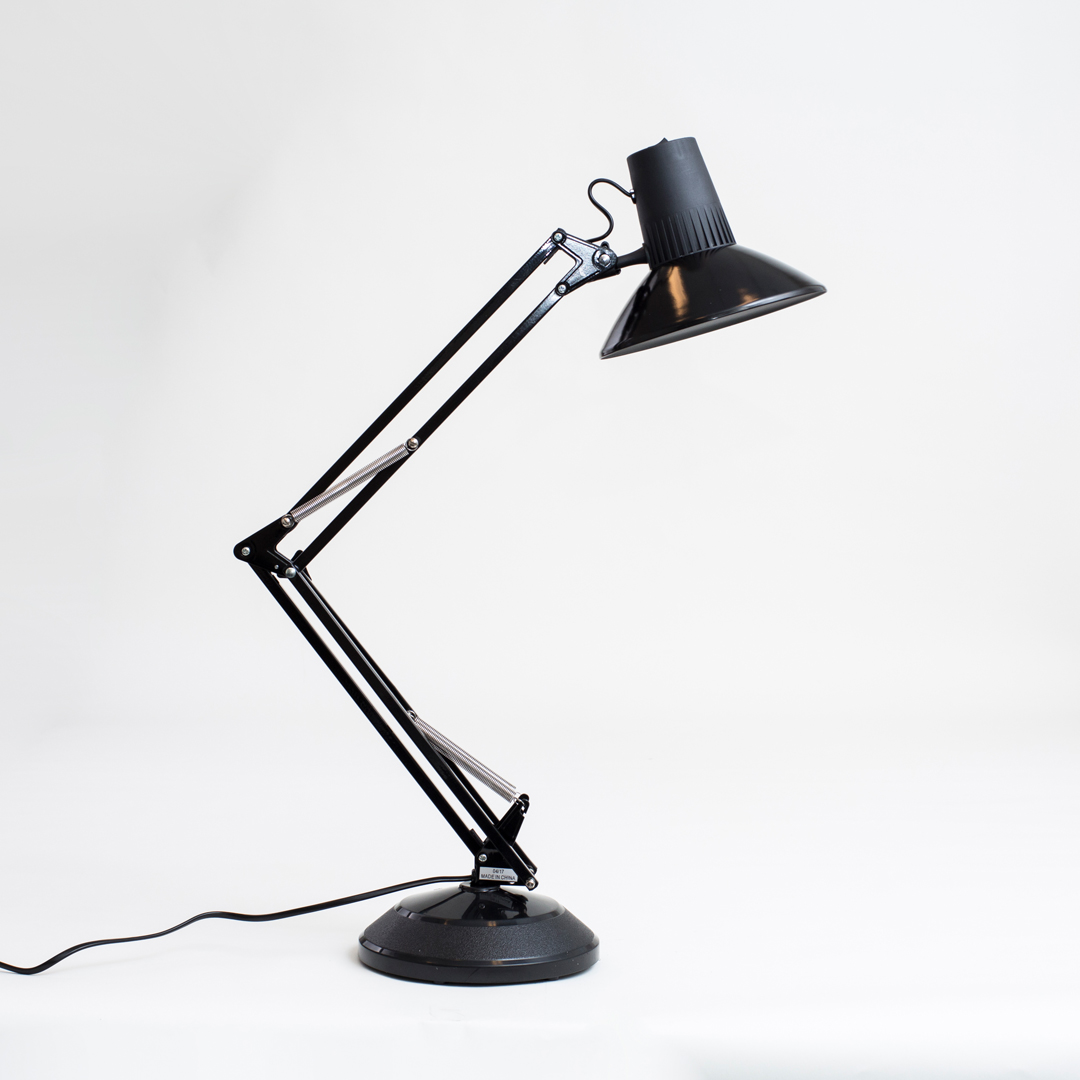 Black standing desk lamp