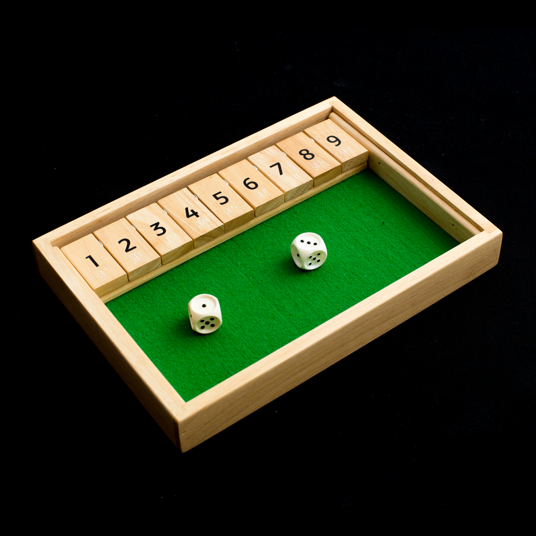 Wooden game set with two dice and wooden numbers